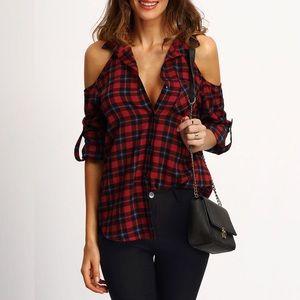 Cold Shoulder Red Plaid Flannel Button Front Shirt
